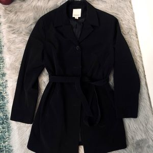 Ann Klein Black Button Up Tie Waist Trench Coat